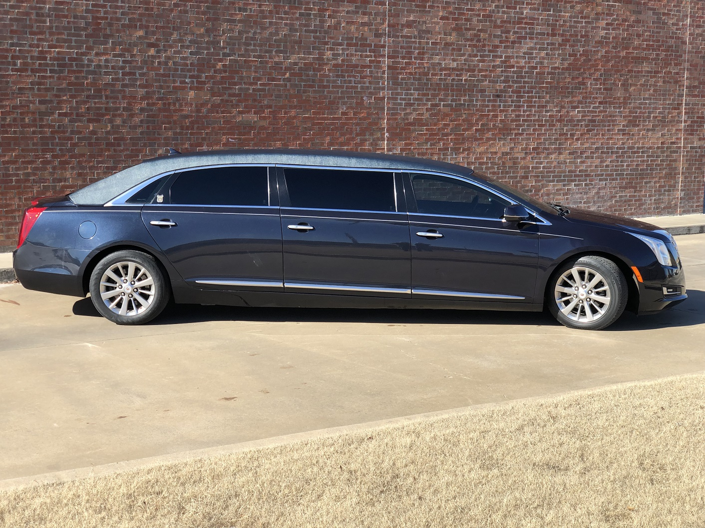 2013 Blue Cadillac Armbruster Stageway Six Door Funeral Limousine 1