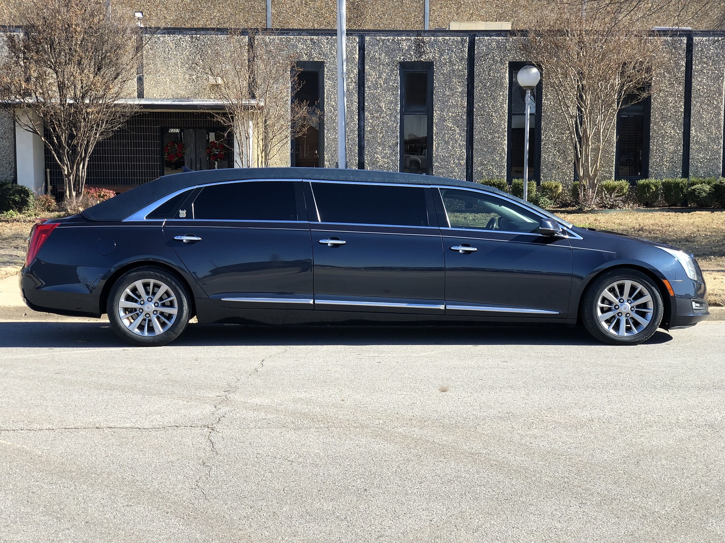 2013 Blue Cadillac Armbruster Stageway Six Door Funeral Limousine 4