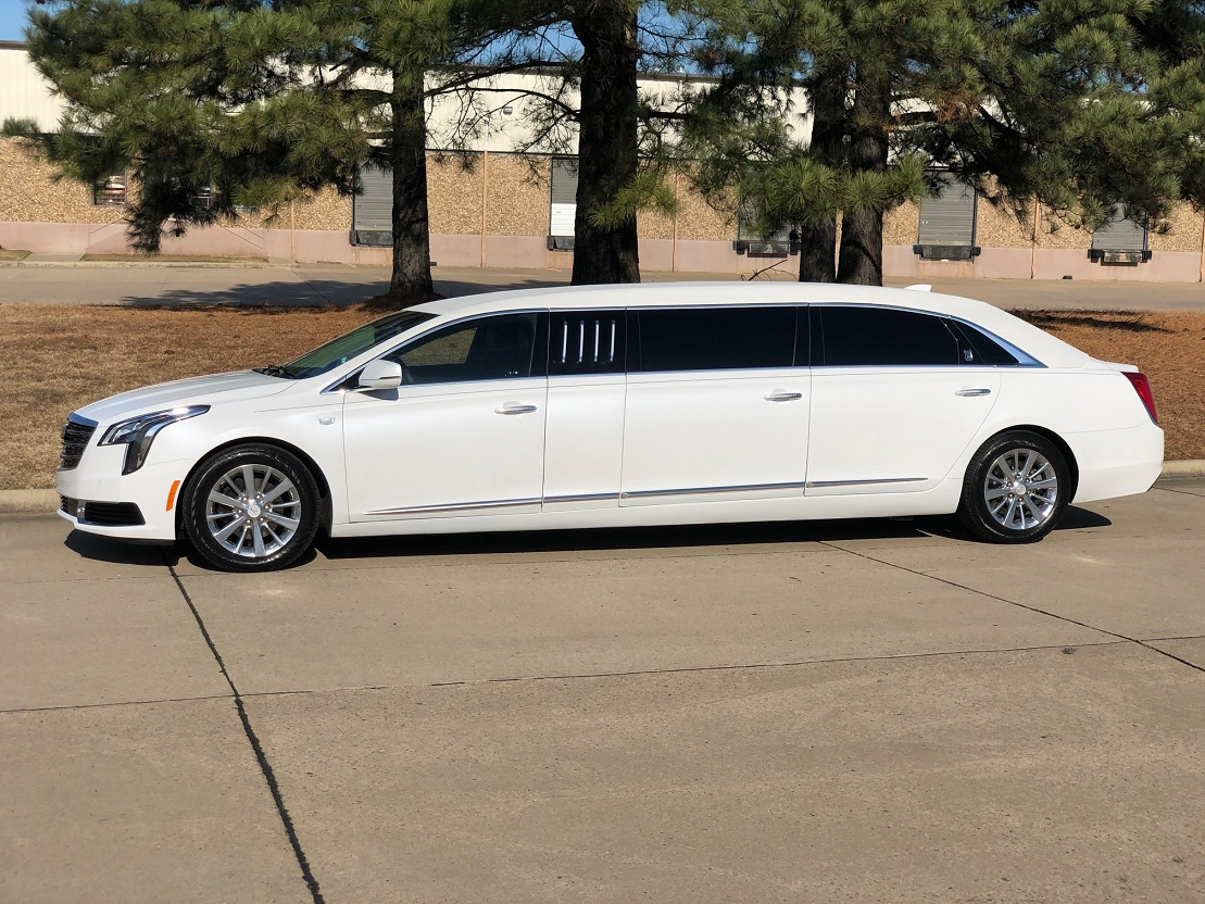 2019 White Armbruster Stageway Cadillac XTS 70 Six Door Limousine For Sale