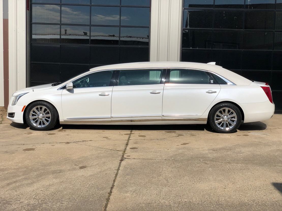 2017 Crystal White Tricoat Cadillac Armbruster Stageway Funeral Six Door Limousine Used Limo For Sale