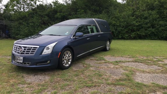 2014 Cadillac Armbruster Stageway - Traditional Coach - Medium Adriatic Blue Used Hearse For Sale